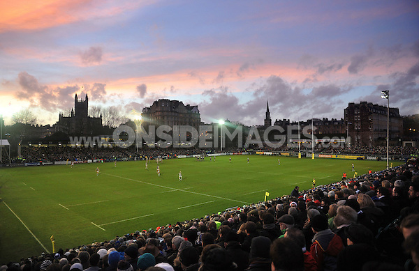 A general view of the  Recreation Ground during the match. Aviva Premiership match, between Bath Rugby and Harlequins on December 21, 2013 at the Recreation Ground in Bath, England. Photo by: Patrick Khachfe / Onside Images