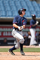 Caleb Raleigh (29) of Smoky Mountain High School in Cullowhee, North Carolina playing for the Cleveland Indians scout team during the East Coast Pro Showcase on August 2, 2014 at NBT Bank Stadium in Syracuse, New York.  (Mike Janes/Four Seam Images)