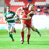 Scarlets' Hadleigh Parkes offloads in the tackle of <br /> <br /> Photographer Dan Minto/CameraSport<br /> <br /> Guinness PRO12 Round 19 - Scarlets v Benetton Treviso - Saturday 8th April 2017 - Parc y Scarlets - Llanelli, Wales<br /> <br /> World Copyright &copy; 2017 CameraSport. All rights reserved. 43 Linden Ave. Countesthorpe. Leicester. England. LE8 5PG - Tel: +44 (0) 116 277 4147 - admin@camerasport.com - www.camerasport.com