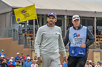 Sergio Garcia (ESP) after sinking his birdie putt on 18 during Round 2 of the Valero Texas Open, AT&T Oaks Course, TPC San Antonio, San Antonio, Texas, USA. 4/20/2018.<br /> Picture: Golffile | Ken Murray<br /> <br /> <br /> All photo usage must carry mandatory copyright credit (© Golffile | Ken Murray)