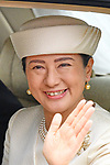 Japan's new Empress Masako waves from her vehicle near the Imperial Palace in Tokyo, Japan on May 1, 2019, the first day of the Reiwa Era. (Photo by MATSUO.K/AFLO)