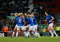 17th November 2019; Anfield, Liverpool, Merseyside, England; Womens Super League Footballl, Liverpool Women versus Everton; Everton celebrate after Lucy Graham puts them ahead 1-0 just before the half time whistle - Editorial Use
