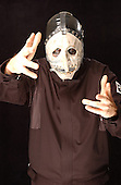 (#3) Chris Fehn – custom percussion, backing vocals ,Slipknot Studio Portrait Session In Desmoines Iowa in 2001.Photo Credit: Eddie Malluk/Atlas Icons.com