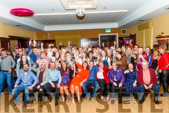 At Sarah Kelliher's 30th birthday party in The Manor Inn Killorglin on Friday<br /> Seated L-R Padraig, Mark, Sean & Sharon Doona, Sarah & Tim Kelliher, Sheila Doona, Sheila Doona Cooslake, Angela & Timmy Kelliher.
