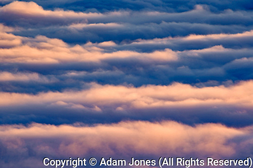 Aerial view of clouds at sunset, above Kachemak Bay, Homer, Alaska