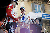 race winner Arnaud D&eacute;mare (FRA/FDJ) congratulating Jurgen Roelandts (BEL/Lotto-Soudal) on the podium<br /> <br /> 107th Milano-Sanremo 2016