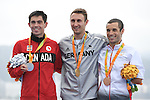 (L-R) Stefan Daniel (CAN), Martin Schulz (GER), Ruiz Lopez Jairo (ESP), <br /> SEPTEMBER 10, 2016 - Triathlon : <br /> Men's Individual Paratriathlon PT4 Medal Ceremony<br /> at Fort Copacabana<br /> during the Rio 2016 Paralympic Games in Rio de Janeiro, Brazil.<br /> (Photo by AFLO SPORT)