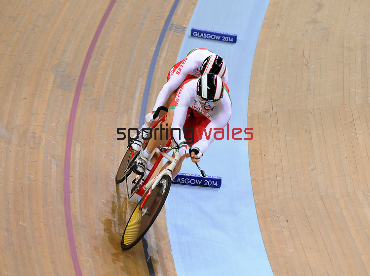 Wales Mens 1000m B2 Tandam Matthew Ellis and ride partner Ieuan Williams with there Bronze medal race<br /> <br /> Photographer Ian Cook/Sportingwales<br /> <br /> 20th Commonwealth Games - Track Cycling -  Day 2 - Friday 25th July 2014 - Glasgow - UK