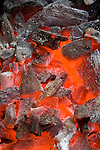 Glowing charcoal coals for BBQ
