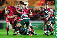 Ken Owens of Scarlets in action during the Heineken Champions Cup round 5 match between the Scarlets and Leicester Tigers at the Parc Y Scarlets Stadium in Llanelli, Wales, UK. Saturday 12th January 2019