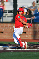 Johnson City Cardinals Trejyn Fletcher (34) swings at a pitch during game two of the Appalachian League, West Division Playoffs against the Bristol Pirates at TVA Credit Union Ballpark on August 31, 2019 in Johnson City, Tennessee. The Cardinals defeated the Pirates 7-4 to even the series at 1-1. (Tony Farlow/Four Seam Images)