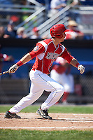 Batavia Muckdogs first baseman Eric Fisher (29) at bat during a game against the Williamsport Crosscutters on July 16, 2015 at Dwyer Stadium in Batavia, New York.  Batavia defeated Williamsport 4-2.  (Mike Janes/Four Seam Images)
