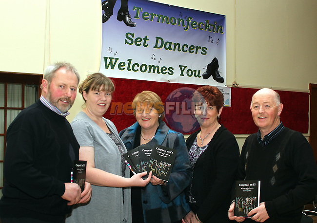 "Organisers, John McEvoy, Michelle Mooney, Sheila McEvoy, Margaret Finegan and Jim Finegan at the Launch of  ""30 Years of Set Dancing in Termonfeckin"" in An Grianan...(Photo credit should read Jenny Matthews/www.newsfile.ie)....This Picture has been sent you under the conditions enclosed by:.Newsfile Ltd..The Studio,.Millmount Abbey,.Drogheda,.Co Meath..Ireland..Tel: +353(0)41-9871240.Fax: +353(0)41-9871260.GSM: +353(0)86-2500958.email: pictures@newsfile.ie.www.newsfile.ie."