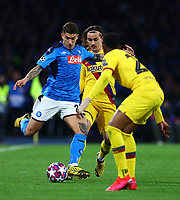 25th February 2020; Stadio San Paolo, Naples, Campania, Italy; UEFA Champions League Football, Napoli versus Barcelona; Giovanni Di Lorenzo of Napoli lines up a shot past Frenkie de Jong of Barcelona