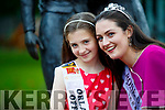 Offaly Rose, Jennifer Byrne newly crowned Rose of Tralee and her Rosebud Orlaith Leahy at a photocall in Tralee Town Park on Wednesday Morning.