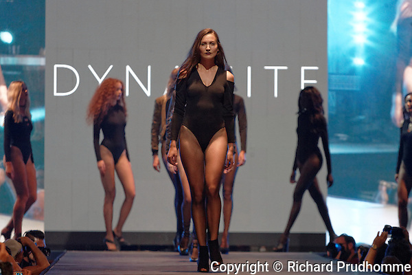 The finale  of the Dynamite fashion show held during the Fashion and Design Festival  in downtown Montreal.