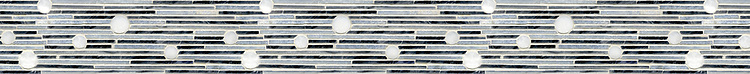 "4"" Velocity border, a hand-cut stone mosaic, shown in polished Celeste, Bardiglio, and Calacatta Tia."