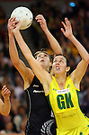 Holden Netball Test Series, Australia v New Zealand 21-7-07 at Vodafone Arena.Silverferns defeated Australia 67-65 in extra time. Irene Van Dyk and Liz Ellis battle it out
