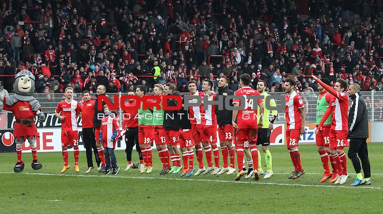 03.07.2013, Stadion an der Wuhlheide, Berlin, GER, 2.FBL, 1.FC Union Berlin vs. Heidenheim, im Bild Union-Maskotchen, Spieler, Jubel, jubelt, Freude, Glueck, gluecklich, positive Emotionen, Soeren Brandy (1.FC Union Berlin), Michael Parensen (1.FC Union Berlin), Damir Kreilach (1.FC Union Berlin), Roberto Puncec (1.FC Union Berlin), Bajram Nebihi (1.FC Union Berlin), Martin Kobylanski (1.FC Union Berlin)<br /> <br />               <br /> Foto &copy; nordphoto /  Engler