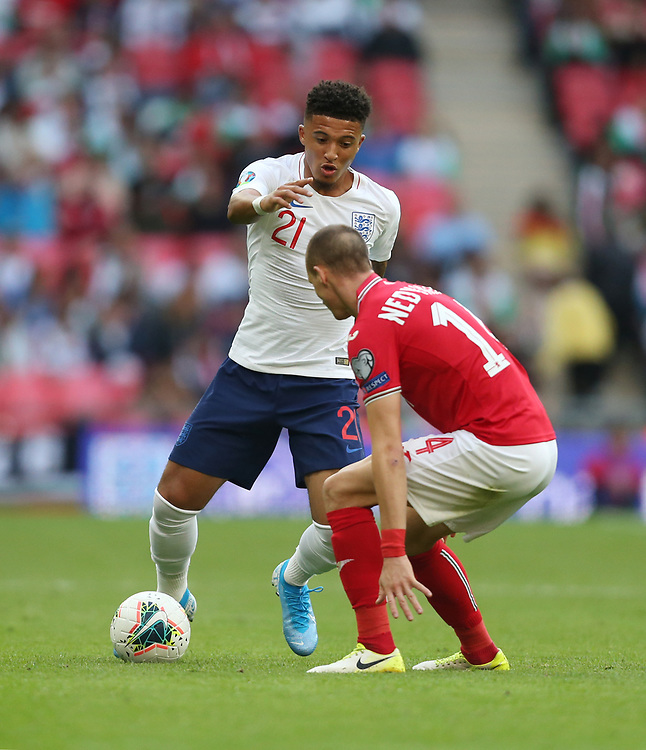 England's Jadon Sancho and Bulgaria's Anton Nedyalkov<br /> <br /> Photographer Rob Newell/CameraSport<br /> <br /> UEFA European Championship Qualifying Group A - England v Bulgaria - Saturday 7th September 2019 - Wembley Stadium - London<br /> <br /> World Copyright © 2019 CameraSport. All rights reserved. 43 Linden Ave. Countesthorpe. Leicester. England. LE8 5PG - Tel: +44 (0) 116 277 4147 - admin@camerasport.com - www.camerasport.com