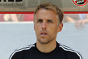 02.08.2015. Cologne, Germany. Pre Season Tournament. Colonia Cup. FC Cologne versus Valencia CF. Phil Neville in his new role as coach on the bench with Valencia.