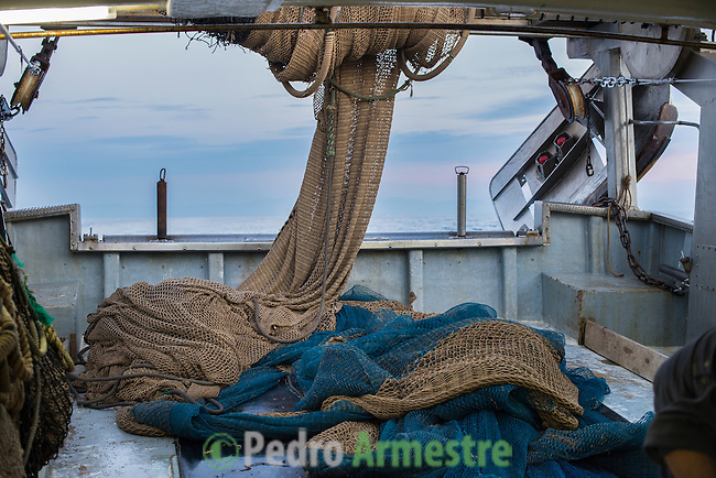 "A picture taken on November 4, 2015 shows a net on a fishing boat off the coast of Villajoyosa . Ecoalf, a Spanish Madrid-based firm founded in 2010, has already launched ""a new generation"" of clothes and accessories made from plastic bottles, old fishing nets and used tires found on land.   © Pedro ARMESTRE"