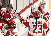 Alexis Crossley (BU - 25), Nina Rodgers (BU - 23), Victoria Hanson (BU - 33) - The Boston College Eagles defeated the Boston University Terriers 3-2 in the first round of the Beanpot on Monday, January 31, 2017, at Matthews Arena in Boston, Massachusetts.