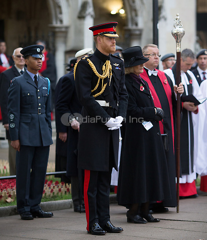 Prince Harry, Duke of Sussex attends the opening of the Field of Remembrance at Westminster Abbey in London.<br /> <br /> The Field of Remembrance has been held in the grounds of Westminster Abbey since November 1928, when only two Remembrance Tribute Crosses were planted growing in number to approximately 70,000 today.<br /> <br /> NOVEMBER 8th 2018. Credit: Matrix/MediaPunch ***FOR USA ONLY***<br /> <br /> REF: HMA 184132