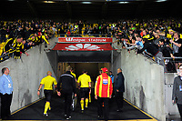 Fans vent their frustration at referee Shaun Evans after the A-League football match between Wellington Phoenix and Sydney FC at Westpac Stadium in Wellington, New Zealand on Saturday, 8 April 2017. Photo: Dave Lintott / lintottphoto.co.nz