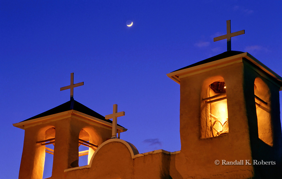 Moonrise over San Francisco de Assisi church, Ranchos de Taos, New Mexico