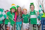 St. Patrick's Day Parade Milltown : Getting ready for the Parade l-r Clodagh O'Donoghue, Kate Spillane, Aisling O'Callaghan, TallulaBell Courtney