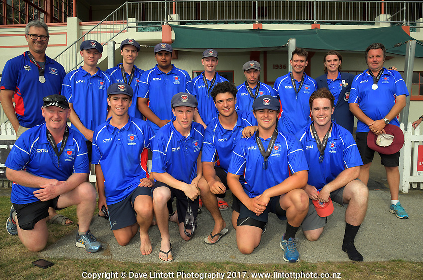 The Rosmini College team. 2017 the Secondary School Boys' First XI Cup national cricket finals presentations at Fitzherbert Park in Palmerston North, New Zealand on Friday, 8 December 2017. Photo: Dave Lintott / lintottphoto.co.nz