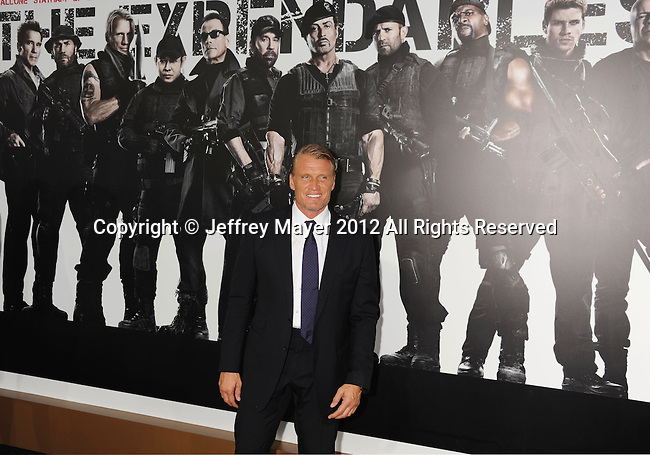 HOLLYWOOD, CA - AUGUST 15: Dolph Lundgren arrives at the 'The Expendables 2' - Los Angeles Premiere at Grauman's Chinese Theatre on August 15, 2012 in Hollywood, California.
