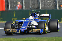 March 26, 2017: Antonio Giovinazzi (ITA) #36 from the Sauber F1 Team rounds turn one at the 2017 Australian Formula One Grand Prix at Albert Park, Melbourne, Australia. Photo Sydney Low