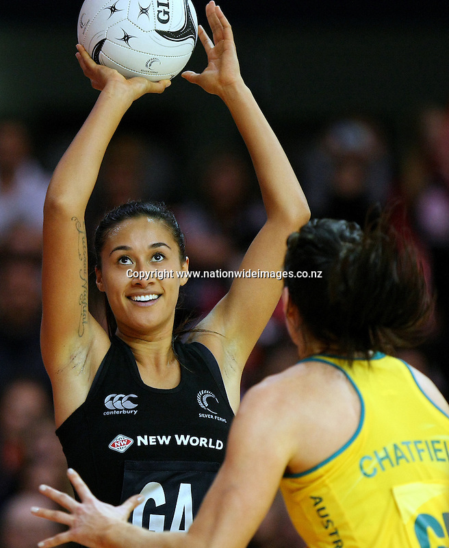 New Zealand's Maria Tutaia looks to attempt at shot at goal against Australia in the New World Netball Series match, SIT Zero Fees Velodrome, Invercargill, New Zealand, Sunday, September 15, 2013. Credit:NINZ / Dianne Manson.