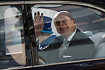 © Joel Goodman - 07973 332324 . No syndication permitted . 14/11/2013 . Manchester , UK . The Queen and Prince Philip the Duke of Edinburgh leave in their shiny car . Queen Elizabeth II and the Duke of Edinburgh visit the Coop building at 1 Angel Square , Manchester , this morning ( 14th November 2013 ) . Photo credit : Joel Goodman