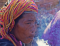 Traditional people from the Shan state northern Myanmar smoking the local cigars 1996, Myanmar/Burma