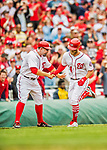 3 April 2017: Washington Nationals outfielder Bryce Harper gets congratulated by third base coach Bob Henley after Harper's solo home run clears the right field fence in the 6th inning on Opening Day against the Miami Marlins at Nationals Park in Washington, DC. Harper's homer was his 5th consecutive Opening Day home run since starting his career in Washington as the  Nationals went on to defeat the Marlins 4-2 to open the 2017 MLB Season. Mandatory Credit: Ed Wolfstein Photo *** RAW (NEF) Image File Available ***