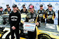 July 15, 2017 - Loudon, New Hampshire, U.S. - Martin Truex Jr, Monster Energy NASCAR Cup Series driver of the Wix Filters Toyota (78), is awarded the pole posistion at the NASCAR Monster Energy Overton's 301 held at the New Hampshire Motor Speedway in Loudon, New Hampshire. Larson placed first in the qualifier. Eric Canha/CSM