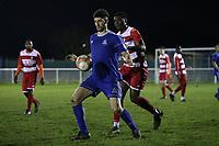 Hassan Nalbant of Redbridge and Columbus Ayayi of Ilford during Redbridge vs Ilford, Essex Senior League Football at Oakside Stadium on 10th January 2020