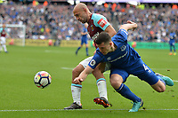 Pablo Zabaleta of West Ham and Michael Keane Of Everton during West Ham United vs Everton, Premier League Football at The London Stadium on 13th May 2018
