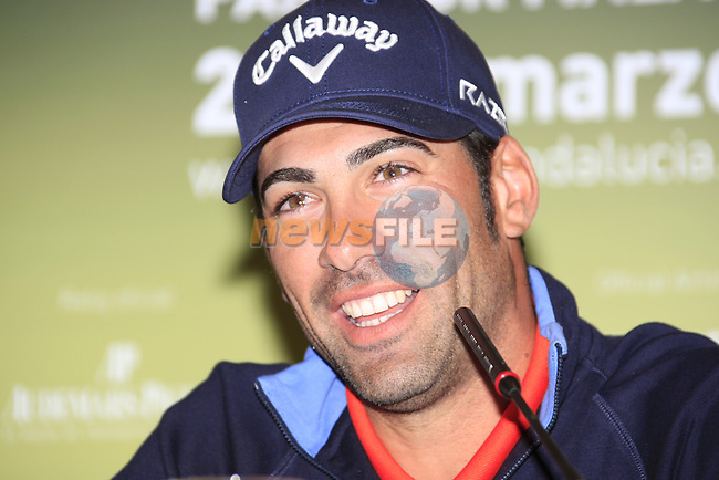 Alvaro Quiros in interview room after the Pro-Am Wedensday of the Open de Andalucia de Golf at Parador Golf Club Malaga 23rd March 2011. (Photo Eoin Clarke/Golffile 2011)