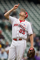 Nebraska Cornhuskers pitcher Colton Howell (25) celebrates after recording the final out of the NCAA baseball game against the Hawaii Rainbow Warriors on March 7, 2015 at the Houston College Classic held at Minute Maid Park in Houston, Texas. Nebraska defeated Hawaii 4-3. (Andrew Woolley/Four Seam Images)