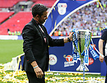 Huddersfield's David Wagner celebrates getting promotion during the Championship Play-Off Final match at Wembley Stadium, London. Picture date: May 29th, 2017. Pic credit should read: David Klein/Sportimage