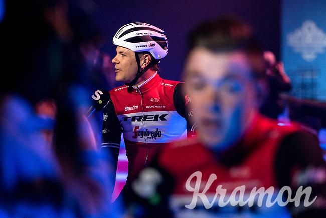 Jasper Stuyven (BEL/Trek Segafredo) pre race sporza interview at the pre race team presentation. <br /> <br /> 74th Omloop Het Nieuwsblad 2019 (BEL)<br /> Gent – Ninove: 200km<br /> ©kramon