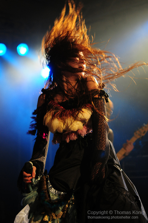 Kaohsiung, Taiwan -- Singer TWIN of the Japanese metal band SOUNDWITCH in action during the 'Kiss Me Kill Me 2011 Tour' at The Wall Live House (Pier 2) in Kaohsiung, Taiwan.