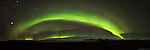 Panorama of Aurora over Skaftafell National Park, Iceland