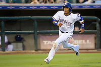 Round Rock Express outfielder Leonys Martin #27 scores a run during the Pacific Coast League baseball game against the Nashville Sounds on August 26th, 2012 at the Dell Diamond in Round Rock, Texas. The Sounds defeated the Express 11-5. (Andrew Woolley/Four Seam Images).