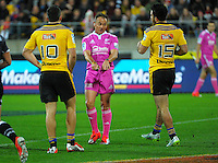 Referee Chirs Pollock tells Nehe Milner-Skudder that his touchdown, with foot dead, in goal only warranted a drop-out during the Super Rugby match between the Hurricanes and Sharks at Westpac Stadium, Wellington, New Zealand on Saturday, 9 May 2015. Photo: Dave Lintott / lintottphoto.co.nz