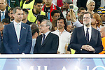King Felipe VI of Spain (l), Real Madrid's President Florentino Perez and the President of Spain Mariano Rajoy (r) during UEFA Champions League 2015/2016 Final match.May 28,2016. (ALTERPHOTOS/Acero)